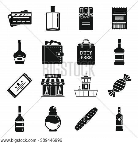 Airport Duty Free Shop Icons Set. Simple Set Of Airport Duty Free Shop Vector Icons For Web Design O