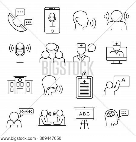 Speech Therapist Icons Set. Outline Set Of Speech Therapist Vector Icons For Web Design Isolated On
