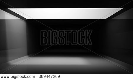 Abstract  Light Box In Dark Grey Tunnel Background. 3d Render Empty Room With Light Glow On Top Roof
