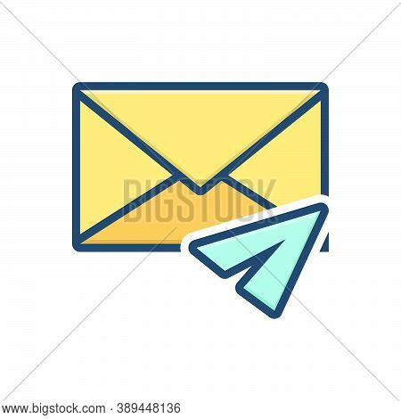Color Illustration Icon For Direct-message Inbox-message Notification Communication Envelope Reminde