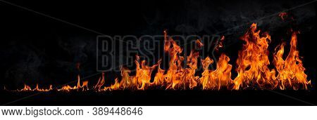 Fire Flames With Smoke On Black Background, Burning Red Hot Sparks Rise, Fiery Orange Glowing Flying