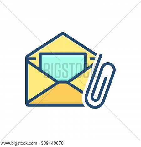 Color Illustration Icon For E-mail-attachment Attach Clip Communication Correspondence Envelope Mess