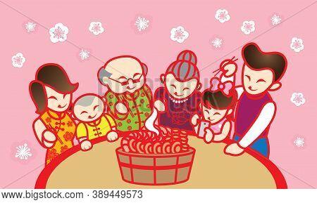 An Oriental Family Enjoying Their Traditional Chinese Dish, Name Poon Choi Or Pen Chai. Artwork Pres