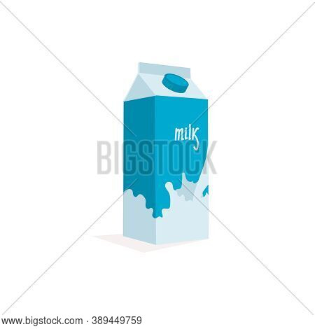 Milk Paper Box. Dairy Beverage Carton With Screw Cap. Natural Fresh Healthy Product Packaging Templa
