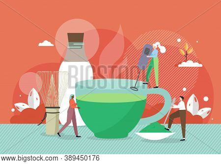 Barista Tiny Male And Female Characters Making Giant Cup Of Matcha Green Tea, Flat Vector Illustrati