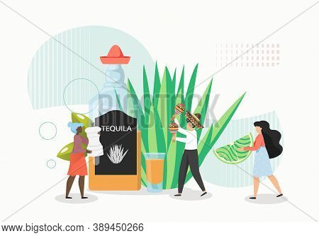 People Serving Tequila With Salt And Lime, Flat Vector Illustration. Mexican Traditional Alcohol Dri
