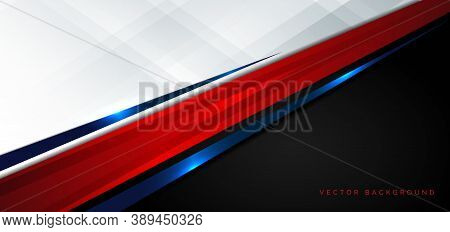 Template Corporate Concept Red Black Blue And White Contrast Background. Vector Illustration