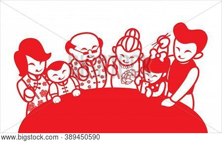 An Oriental Family Enjoying Their Food. Artwork Presented With Traditional Paper Cutting Style.