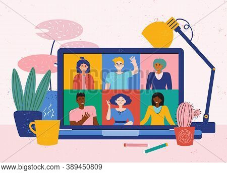 Video Conference From Home For Online Meetings, Distant Discussion. Teleconference With Friends. Vec