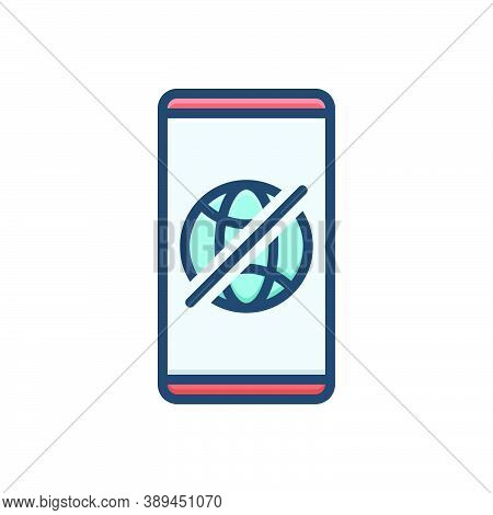 Color Illustration Icon For Offline Connection Technology Transmit Transmission Wireless Prohibition