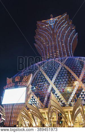 Macau, China - April 01, 2016: Grand Casino Lisboa In Macau. Macau Is The World's Top Casino Market