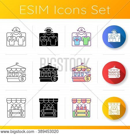 Flea Market Icons Set. Linear, Black And Rgb Color Styles. Second Hand Clothing Store, Fete Festival