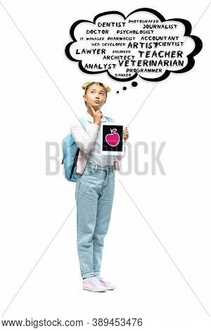 Schoolchild Holding Digital Tablet Near Thought Bubble Illustration With Lettering On White Backgrou
