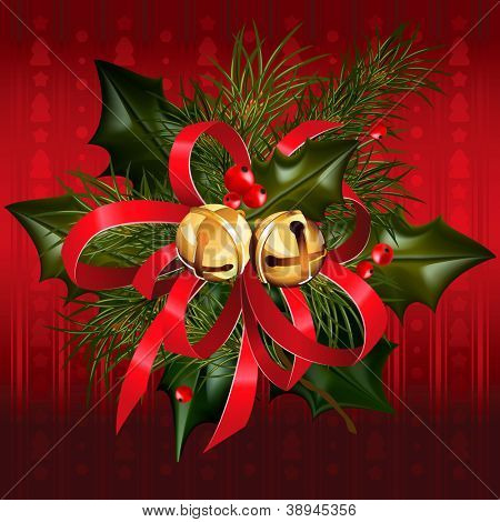 Christmas jingle bells with red ribbon, holly and pine branches