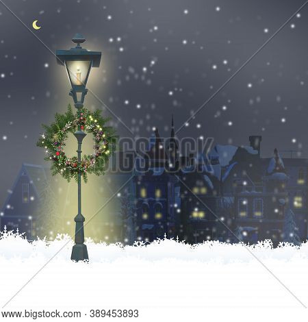 Christmas Magic Night With Old Cityscape, Snow, Street Lights, Floral Wreath In 3d Illustration, Des