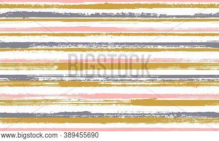 Pain Brush Stroke Rough Stripes Vector Seamless Pattern. Doodle Tartan Plaid Print Design. Scratchy