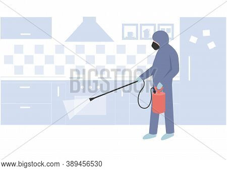 Pest Control Specialist, Uniformed Professional Eliminate And Prevent Pest On The Kitchen Using Prof