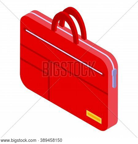 Laptop Red Case Icon. Isometric Of Laptop Red Case Vector Icon For Web Design Isolated On White Back