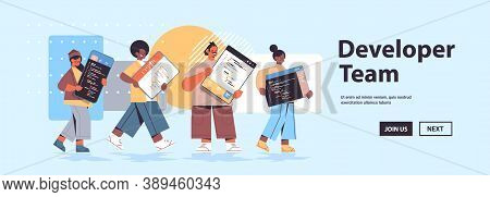 Mix Race Web Developers Creating Program Code Development Of Software And Programming Concept Full L