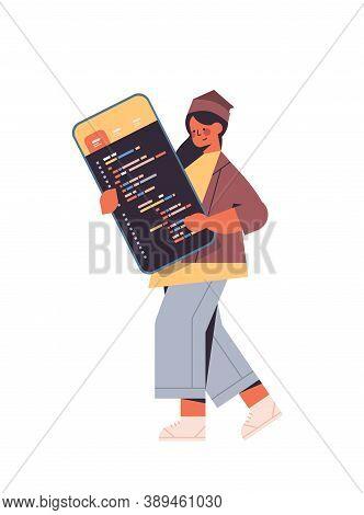 Female Web Developer Using Smartphone Creating Program Code Development Of Software And Programming