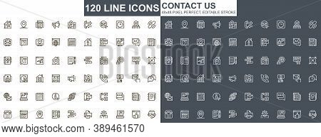 Contact Us Thin Line Icons Set. Online Communication, Email Messaging Unique Design Icons. Business