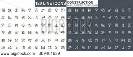 Construction Thin Line Icons Set. Construction Site Workflow And Management Unique Design Icons. Mac