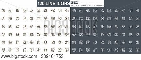 Seo Optimization Thin Line Icons Set. Content Analysis, Online Marketing And Research Unique Design