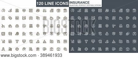 Insurance Thin Line Icons Set. Accidents Protection And Life Insurance Unique Design Icons. Financia