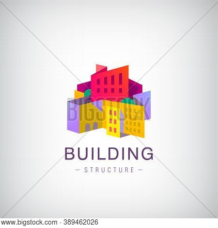 Vector Origami Building Structure, City Scape Construction, Colorful 3d Logo, Icon. Real Estate, Hou