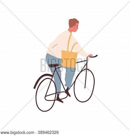Young Cheerful Man Riding Bicycle. Modern Adult Citizen Cycling Outdoors. Male Character Bicycling.