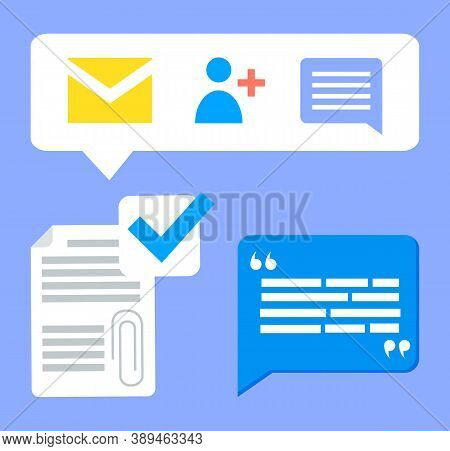 Social Network Icons, Income Message, Email, Chatting With Friends, Feedback Document, Comments Of U