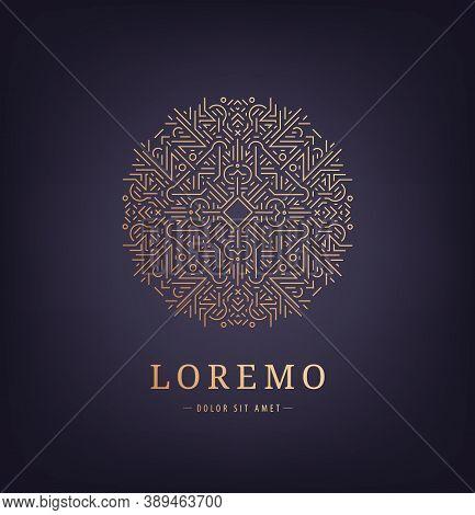 Vector Abstract Geometric Circle Logo, Stylish Vintage Graceful Monogram, Emblem Template , Elegant