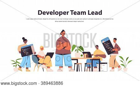 Team Lead Engineer With Mix Race Web Developers Coding Together Creating Program Code Development Of