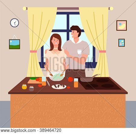 Woman Cooking At Kitchen. Female Mixing Salad In Bowl. Man Hugging Wife. Woman Preparing Food At Hom