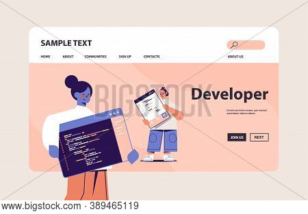 Web Developers Couple Creating Program Code Development Of Software And Programming Concept Horizont