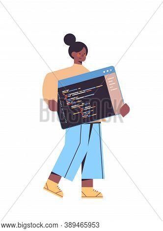 Female Web Developer Creating Program Code Development Of Software And Programming Concept Full Leng