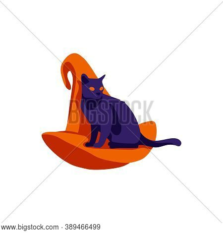 Black Witch Hat Decorated With Cat. Halloween Costume Design Element, Wizard Pointed Cap. Happy Hall