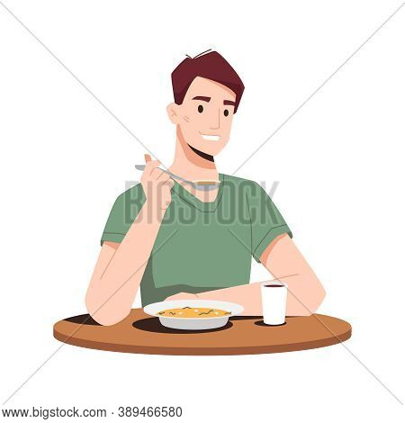 Happy Guy Eating Dinner Isolated Flat Cartoon Person Eating Soup First Course And Drinking Juice. Ve