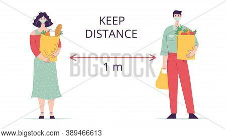 Woman And Man In Medical Mask With Paper Bag Groceries.keep Distance.concept Shopping For Groceries