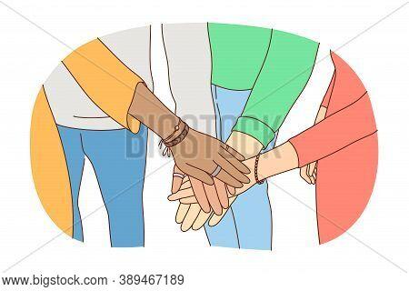 Friendship, Business, Teamwork, Leadership, Partnership Concept. Group Of Businesspeople Friends Tea