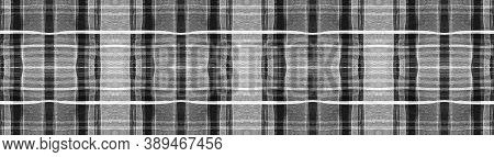 Black Buffalo Check. Watercolor Picnic Material. Wool Geometric Squares For Fabric Design. Seamless