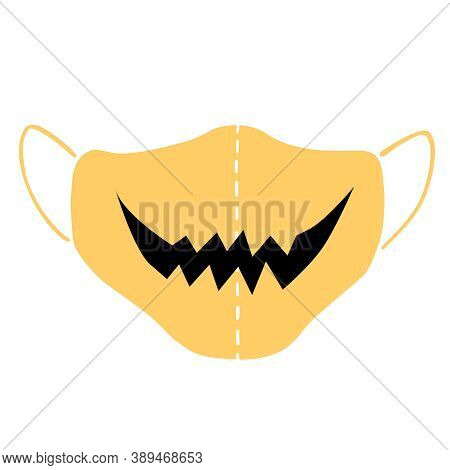 Medical Face Mask Icon With Smile - Halloween Simple Vector Illustration In Flat Style Isolated. Mea