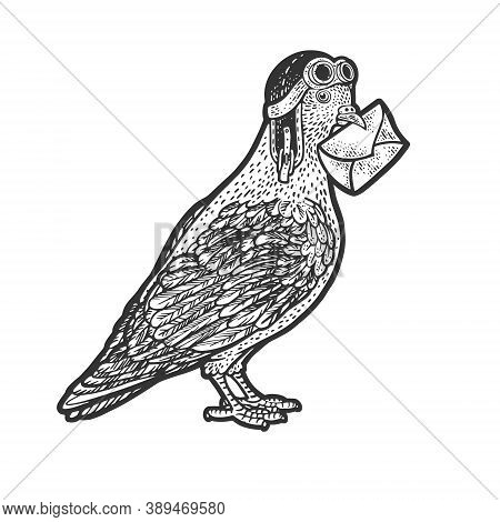 Homing Carrier Pigeon With Letter And Old Pilot Helmet Sketch Engraving Vector Illustration. T-shirt
