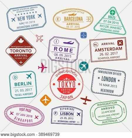 Passport Stamp Set. Different Countries Airport Visa Stamp. Custom Control Cachet. New York, Rome, A