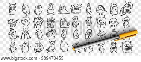 Monsters Doodle Set. Collection Of Hand Drawn Pencil Sketches Templates Patterns Of Spooky Creatures