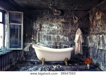 vintage bathtub in grunge interior (photo compilation)