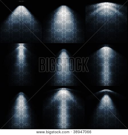 different kinds of lights on the vintage wallpaper  background