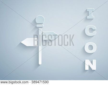 Paper Cut Road Traffic Sign. Signpost Icon Isolated On Grey Background. Pointer Symbol. Street Infor