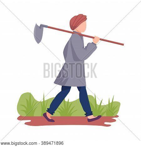 Asian Male Farmer Carrying Hoe Or Picker For Cultivating Soil Vector Illustration