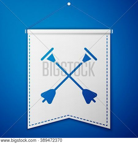 Blue Arrow With Sucker Tip Icon Isolated On Blue Background. White Pennant Template. Vector